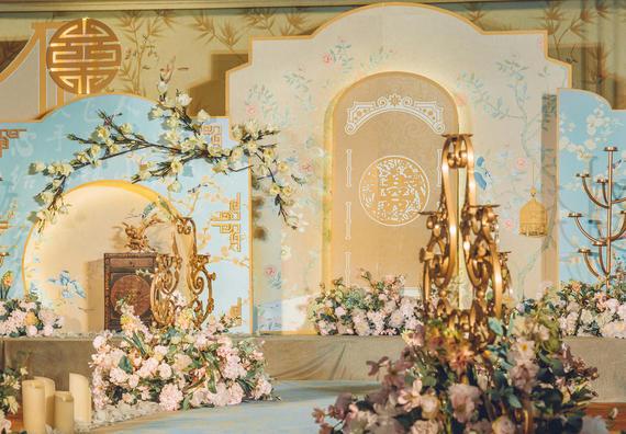 今生有约婚礼出品/《蓝中式》室内婚礼案例