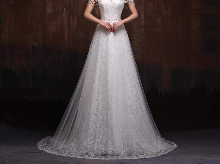 优雅鱼尾镂空奢华法式水溶性蕾丝抹胸新娘婚纱
