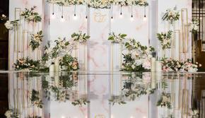 《如梦之梦》香槟简约风婚礼,镜面地毯,大理石纹路