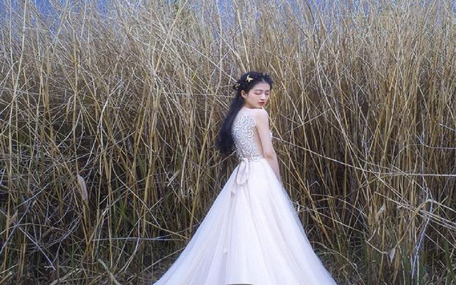 设计师原创珍珠刺绣香槟裸色A字裙摆大拖尾婚纱
