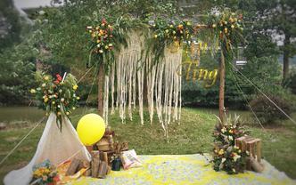 乡村户外的柠檬黄色系草坪婚礼