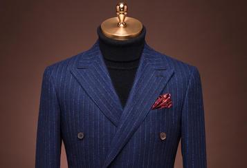 丹特 蓝色条纹双排扣套装
