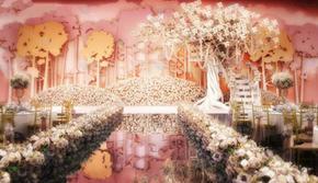 唯美浪漫粉色金色樱花树主题婚礼