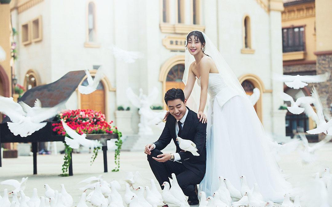 唯美韩式系列婚纱照  西安世博园外景罗曼摄影基地