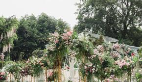 粉绿小清新户外婚礼+西式婚礼布景+花艺人员全包