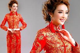 【米亞】富贵新娘结婚敬酒服长袖婚礼旗袍礼服龙凤褂