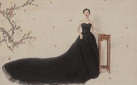 明星艺术写真工笔画古典时尚婚纱照