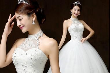 2015国庆新款婚纱礼服 韩式挂脖公主蓬蓬裙齐地