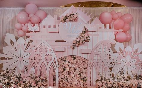 【US案例】城堡气球少女梦粉色系婚礼