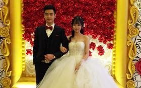 厦门琳琳婚礼香槟色婚纱出租,新娘礼服定做,西装