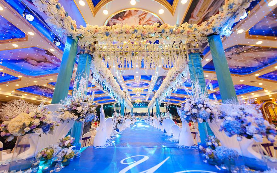 浅海梦幻之恋的蓝色海洋风主题婚礼