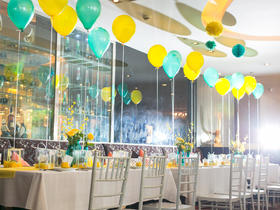 Tiffany蓝与柠檬黄撞色生日宴宝宝宴