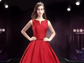 名门新娘婚纱礼服 新款2015 婚纱 一字肩 红