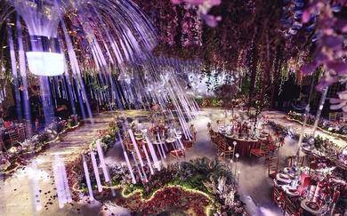 紫外光色系主题婚礼  藤萝瀑布