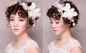 抽丝发造型 淡淡的眼妆 可爱的腮红 完美新娘