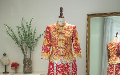 [经典传承]红色金龙金凤中式嫁衣