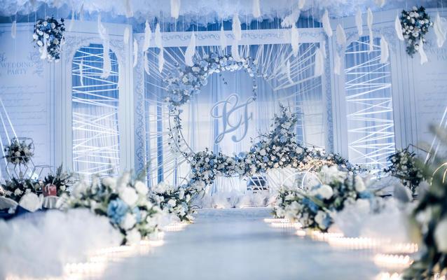【典尚婚礼】白蓝色大理石 社区礼堂创意婚礼