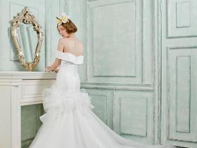 纯白缎面韩系婚纱 可做主婚纱出门纱迎宾纱 鱼尾婚纱