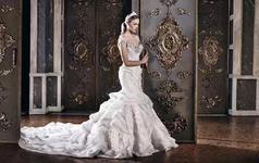 美背新款豪华超闪婚纱韩版绑带新娘大拖尾2米婚纱