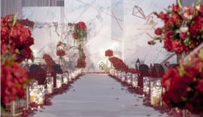 【倾心】红色大理石婚礼含四大金刚+即拍即有