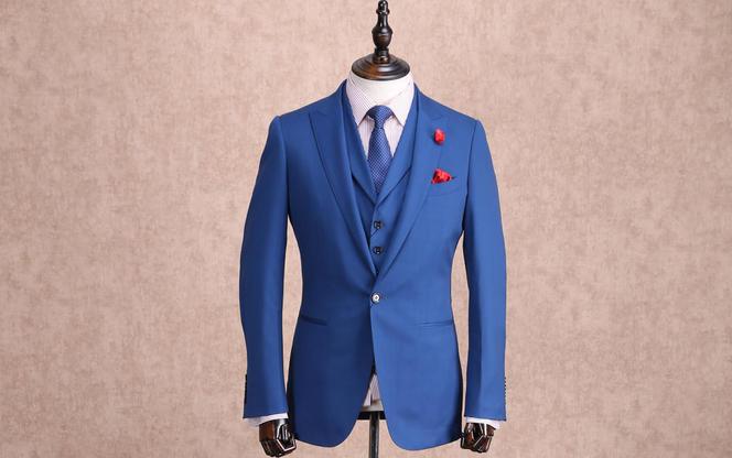 红领西服高级定制—蓝色戗驳头套装