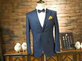 丁和江【男生结婚礼服】——休闲商务蓝色格纹西服