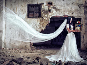 复古主题创意婚纱照