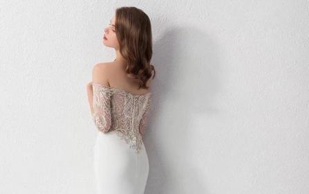 「媆·设计」一字肩法式刺绣鱼尾 完美新娘必选