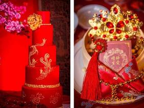 大气红色喜气中式婚礼布置效果图