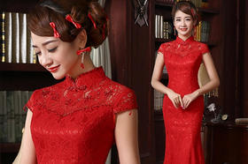 【米亞】时尚旗袍复古包肩刺绣鱼尾修身红色旗袍