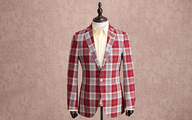 红领西服高级定制——红色格子戗驳领休闲单西