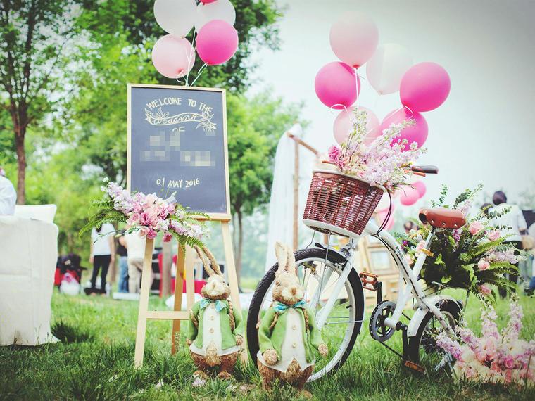 【南瓜马车】水粉色草坪婚礼--