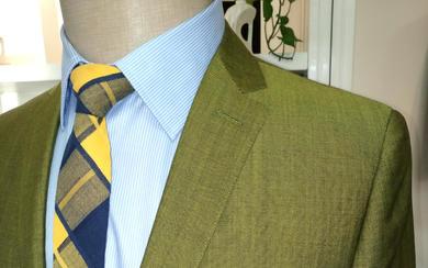 草绿色 时尚西装定制 意大利进口面料