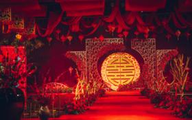中式高端大红色厂房婚礼《天长地久》78800