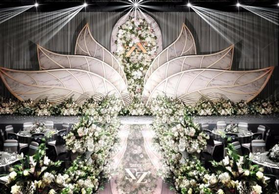 爆款套餐 绽放/香槟金色大型铁艺花卉主题婚礼