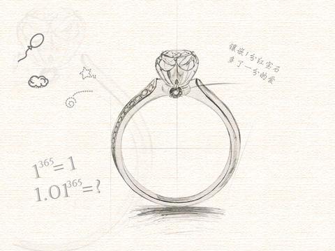 温馨浪漫款婚戒-【爱她多一分】原创设计