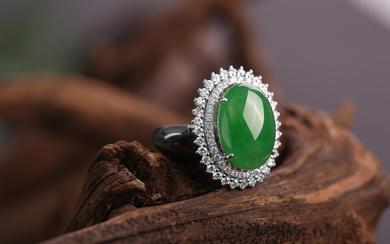 【结婚定情信物】18K高绿翡翠钻石戒指