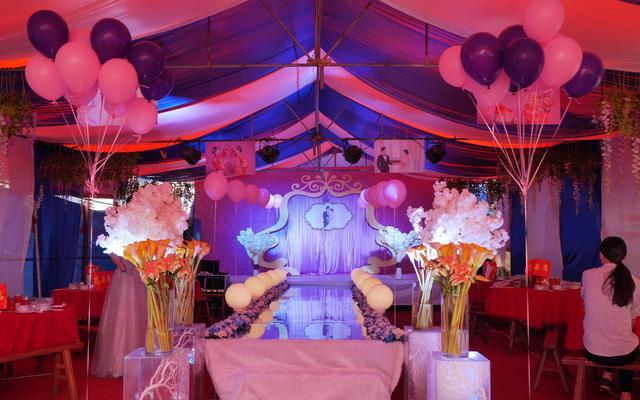 农村户外棚子,粉色经典婚