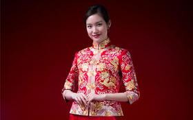 华芬中式嫁衣定制 裙褂龙凤褂 玫瑰花瓣 龙海水