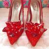 超美红色灰姑娘水晶鞋