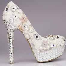 甜美白色花朵蕾丝防水台高跟鞋水钻婚鞋新娘礼服鞋拍婚纱照女71