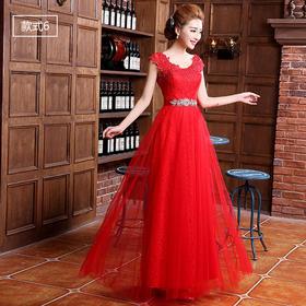 新款秋冬长款新娘礼服 时尚修身婚纱礼服红色结婚337