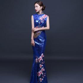 新娘结婚礼服中式嫁衣喜服红色复古刺绣旗袍长349