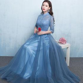 敬酒服新娘中长款秋冬新款新娘立领订婚礼服主持礼服时尚年351