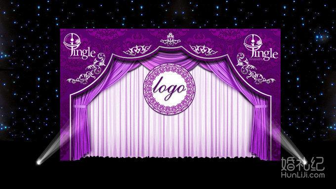 婚礼紫色kt板素材