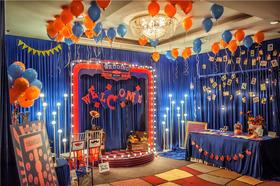 蓝色橙色撞色婚礼