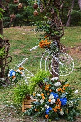 (三只熊花艺)中西合璧的蓝橙色系婚礼