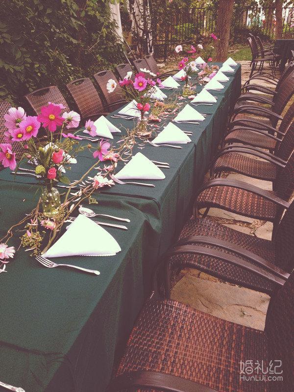 园party婚礼长条桌花