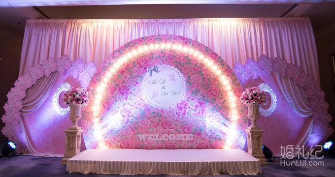 粉紫色欧式婚礼舞台