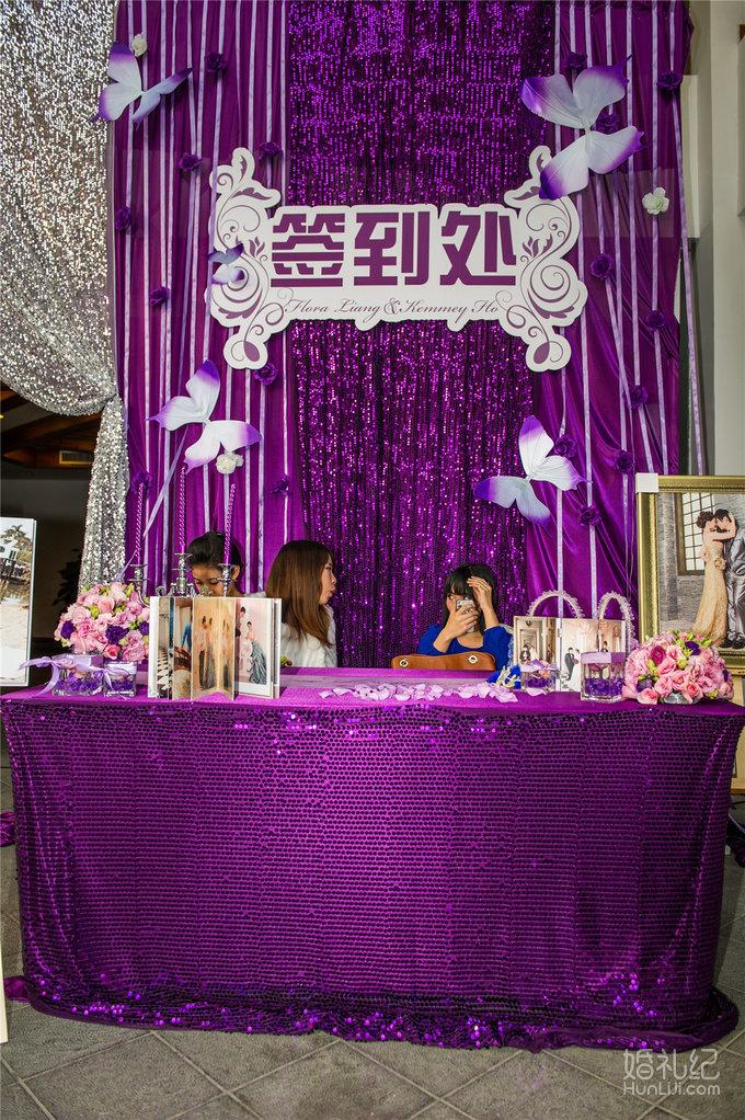 欧式婚礼签到台图片紫色